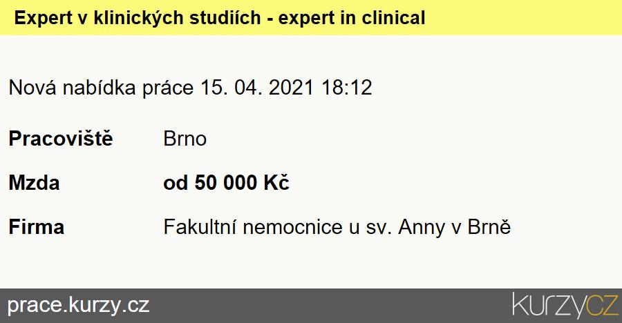 Expert v klinických studiích - expert in clinical trials., Ostatní lékaři specialisté